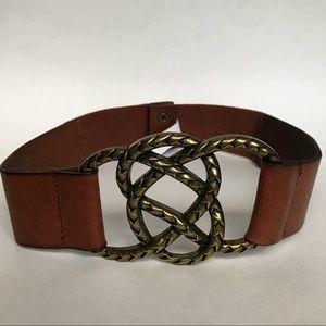 Anthropologie Wide Leather Belt Brass Knot Buckle